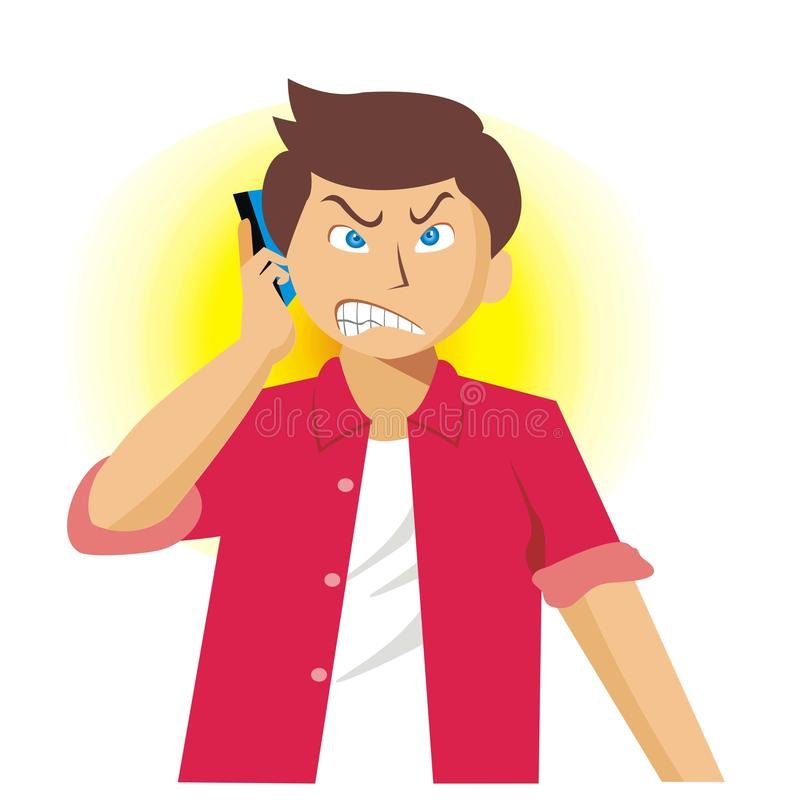 Young man calling someone while angry. Vector illustration stock illustration
