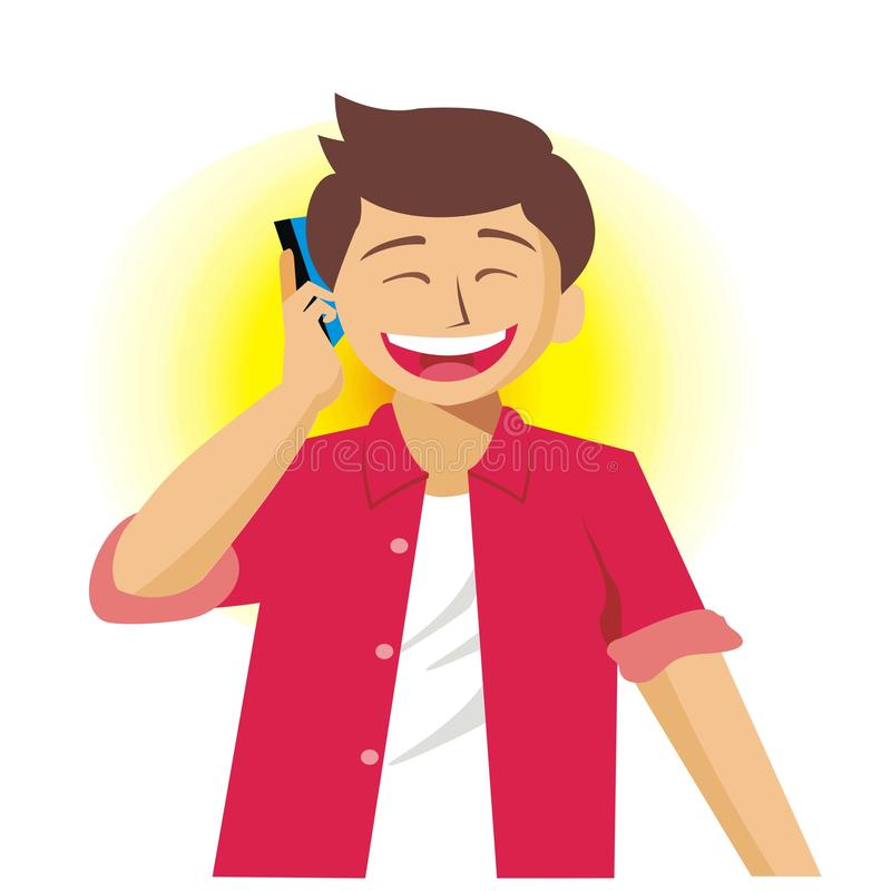 Young man calling someone while laughing-vector illustration. Young man calling someone with smartphone while laughing-vector illustration royalty free illustration