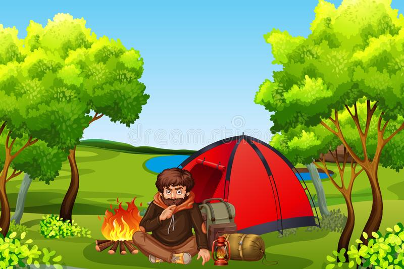 Young man camping in forest. Illustration stock illustration