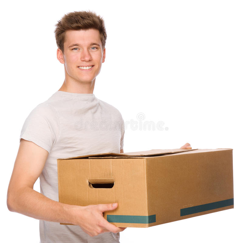 Young man with cardboard royalty free stock photos