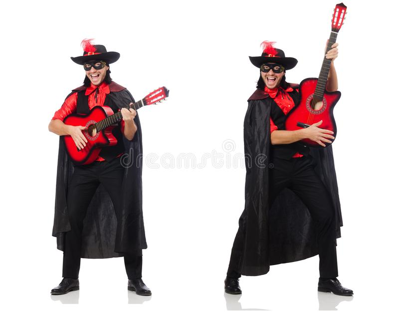 Young man in carnival coat  with guitar isolated on white royalty free stock photos