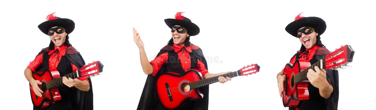 Young man in carnival coat  with guitar isolated on white royalty free stock photo