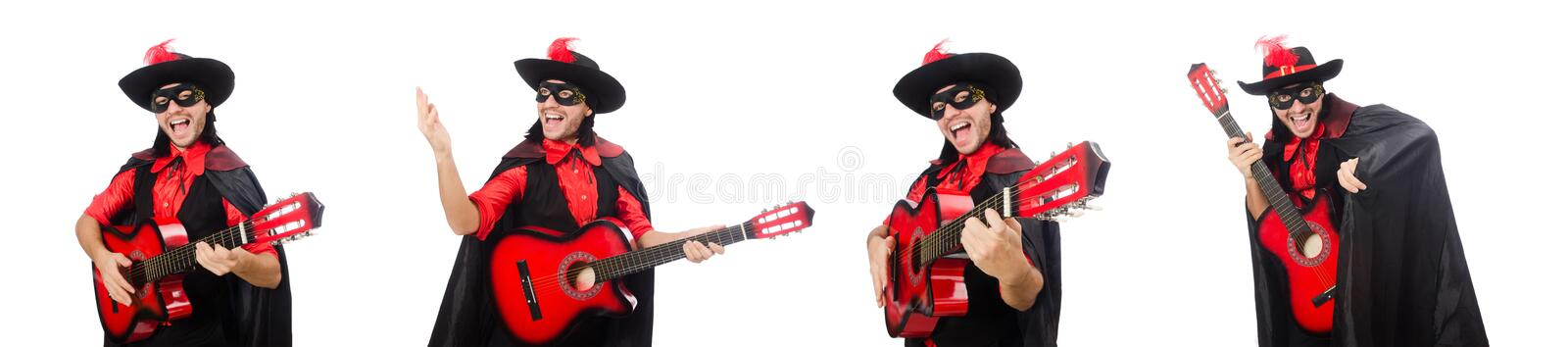 Young man in carnival coat with guitar isolated on white stock images