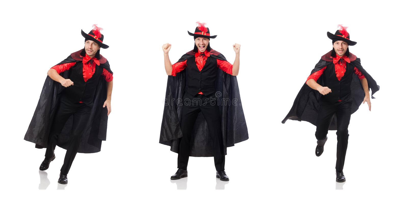Young man in carnival coat isolated on white royalty free stock image