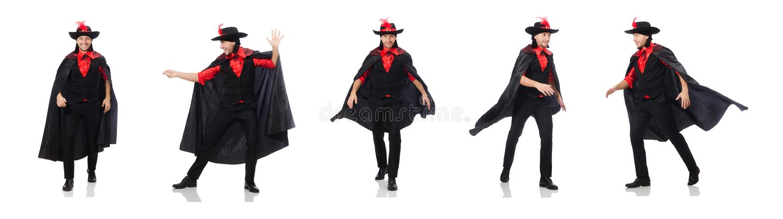 Young man in carnival coat isolated on white royalty free stock photo