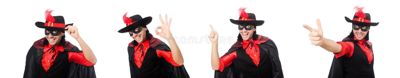 Young man in carnival coat isolated on white royalty free stock photos