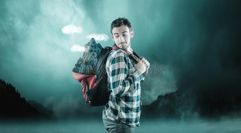 Carry a mountain stock image
