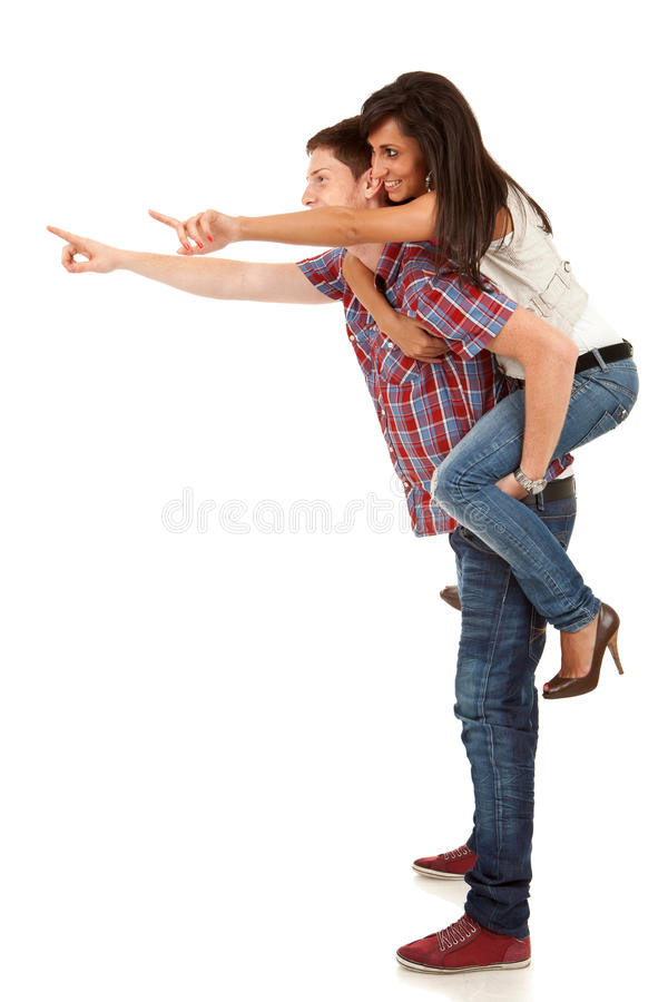 Download Young Man Carrying His Cute Girl On Back Royalty Free Stock Images - Image: 19742929
