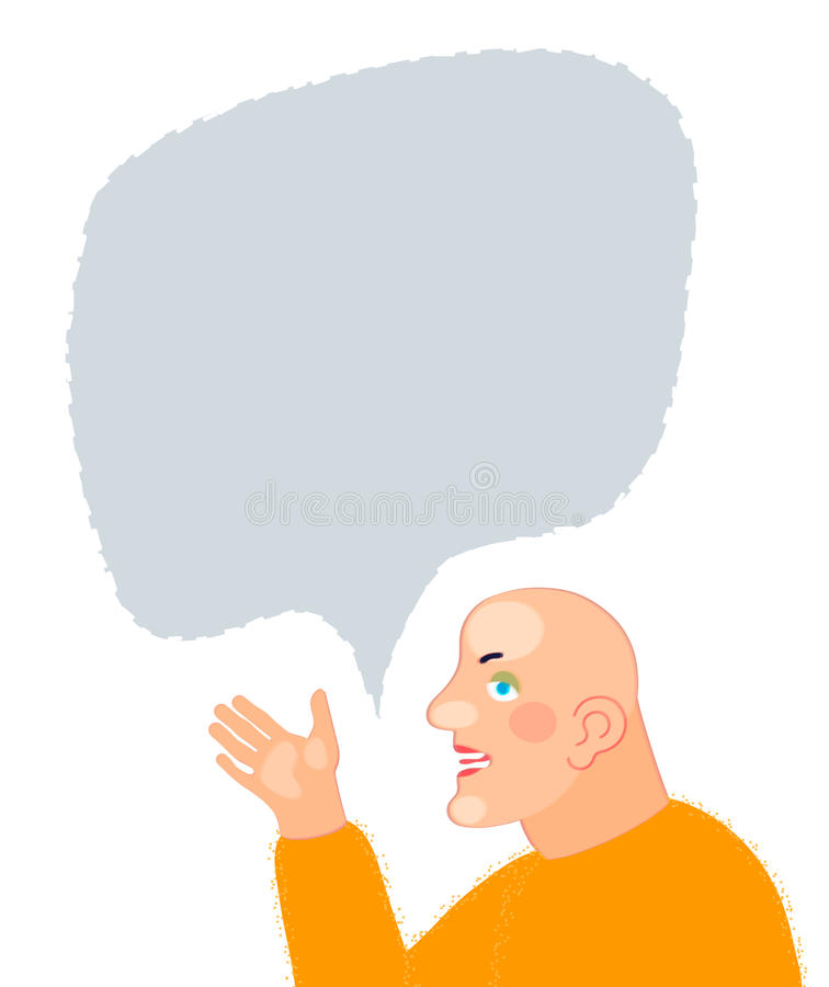 Young man cartoon character portrait with speech bubble royalty free illustration