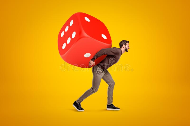 Young man in casual clothes carrying big red casino dice on his back on yellow background royalty free stock photos