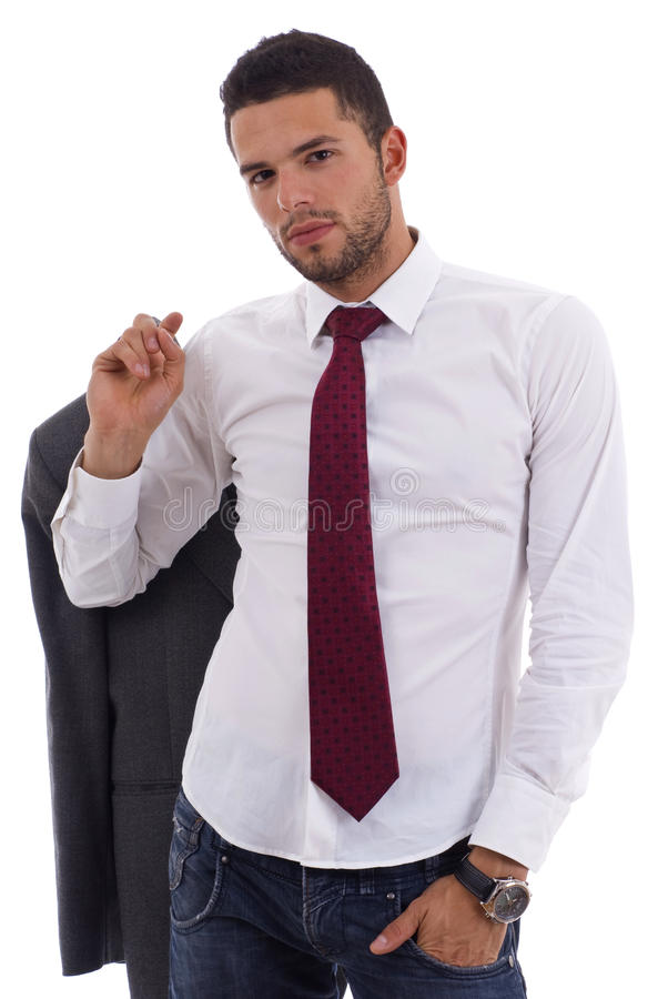 Young man in casual office attire royalty free stock images