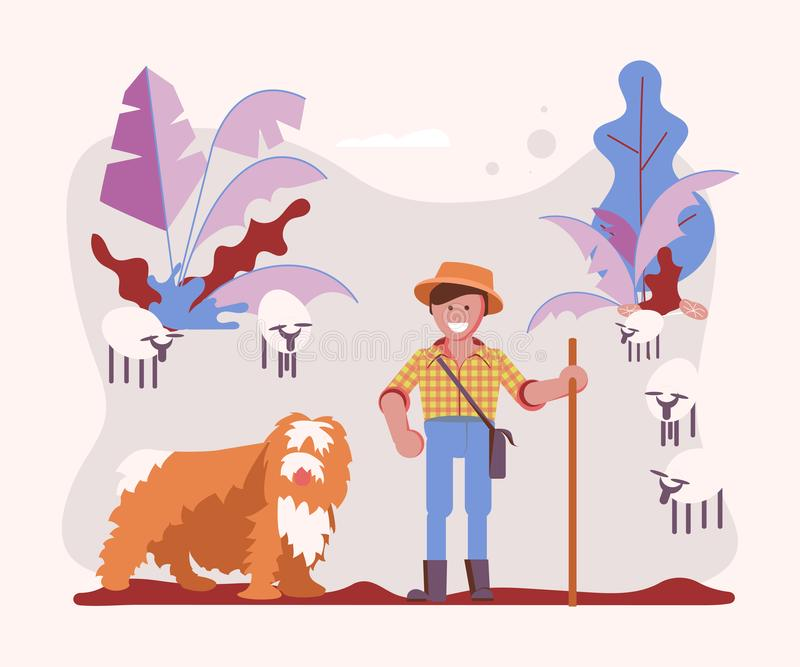 Young man cattleman with his Shepherd dog. Graze sheep in pasture. Cartoon Character of pet and his owner. Art Vector illustration royalty free illustration