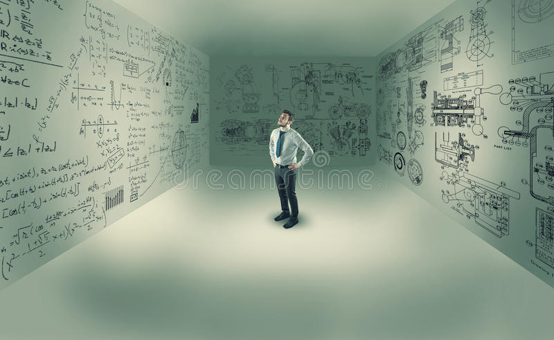 Young man in center of a room royalty free stock photos