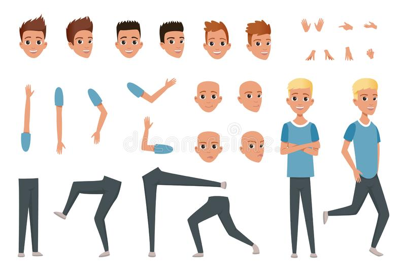 Young man character constructor with body parts legs, arms, hand gestures. Angry, dissatisfied, surprised and calm face. Expression. Full length boy. Stylish royalty free illustration
