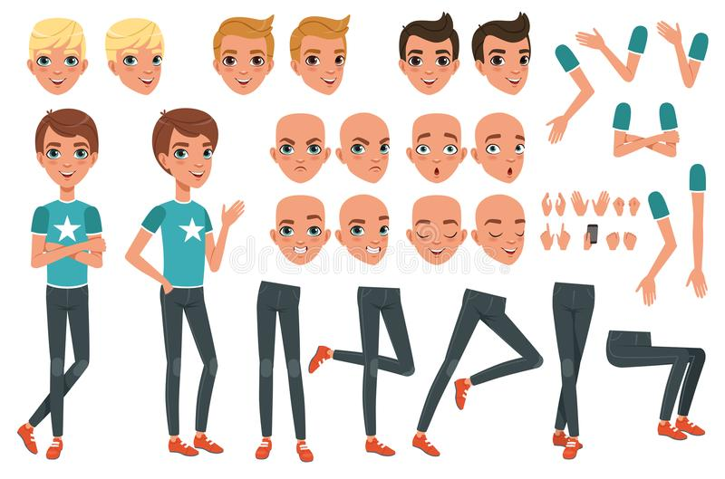 Young man character constructor with body parts legs, arms, hand gestures. Angry, dissatisfied, surprised and calm face stock illustration