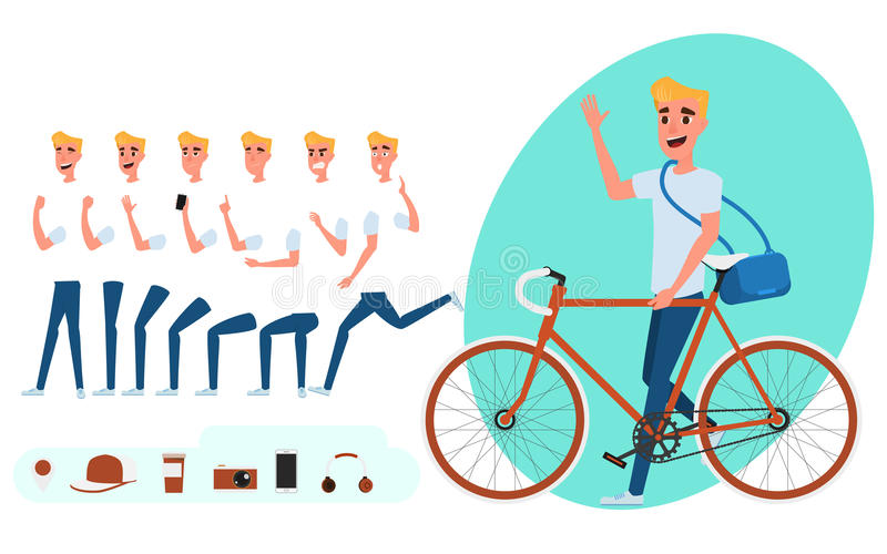 Young man character creation set for animation. Young man with bicycle. Parts body template. Different emotions and poses stock illustration