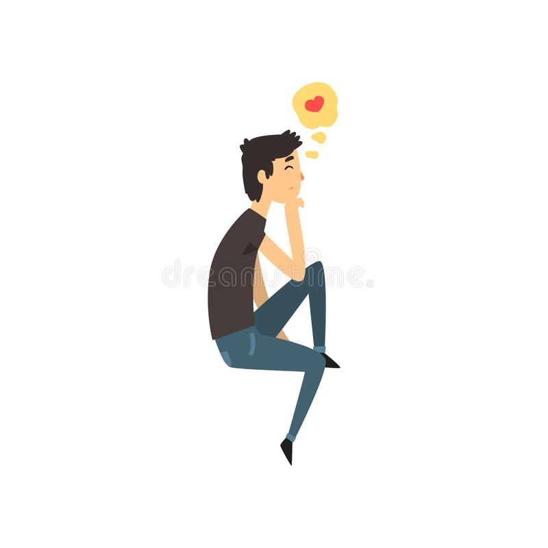 Young man character dreaming about the girlfriend he love, Happy Valentines Day concept cartoon vector Illustration. Isolated on a white background royalty free illustration