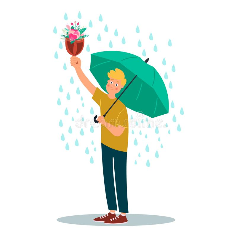 Young man character hold umbrella and bouquet of flowers under rain. Vector illustration on white background in cartoon style.  vector illustration