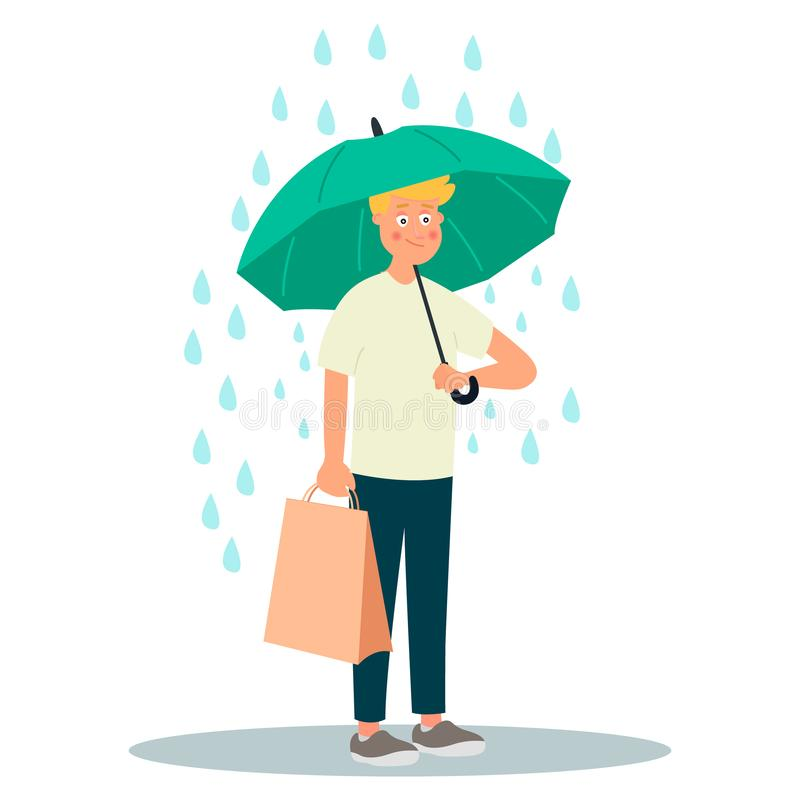 Young man character hold umbrella under rain. Vector illustration on white background in cartoon style royalty free illustration