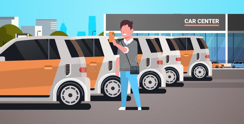Young man choosing vehicle on car center parking using mobile application carsharing concept guy holding smartphone. Online auto rent service flat horizontal royalty free illustration