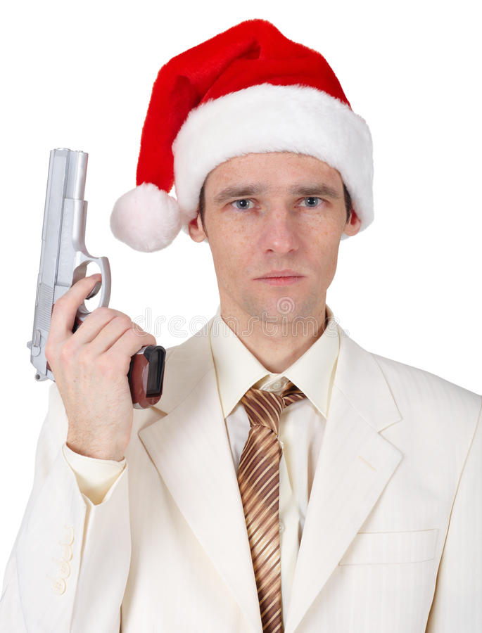 Download Young Man In Christmas Hat With Gun Stock Photo - Image of isolated, person: 13716028