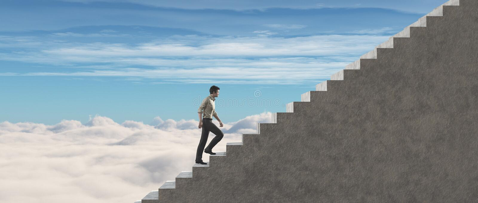 Young man climb on stairs vector illustration