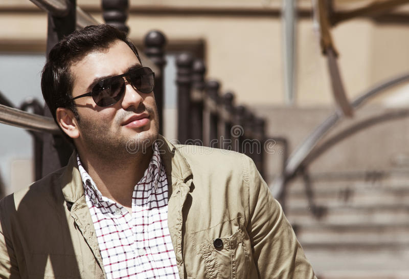 Young man. Close up handsome man. Profile - portrait of a attractive gorgeous guy stock image