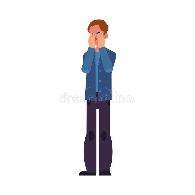 Young man closes his eyes with his hands because of disgust and reluctance to see something, fear or sadness. Young man closes his eyes with his hands because stock illustration