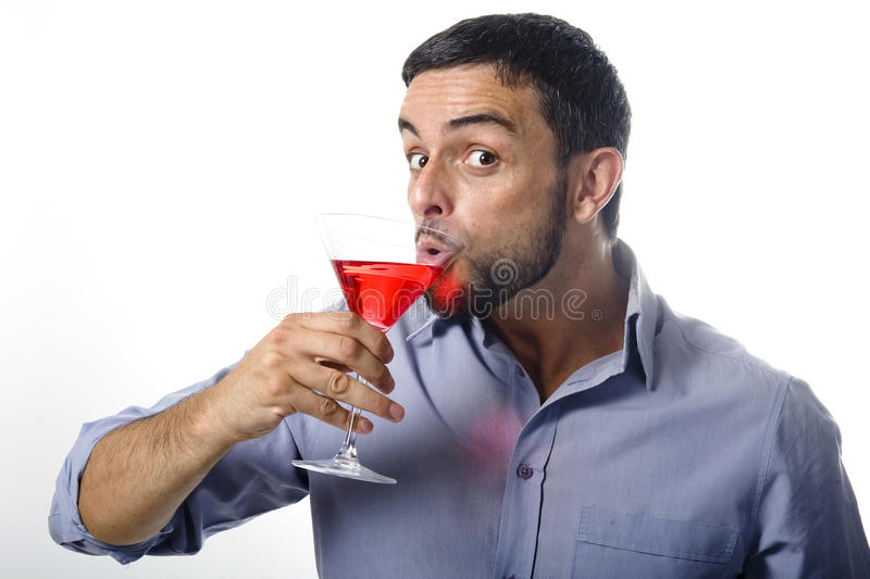 Young Man with Cocktail Isolated White stock photos