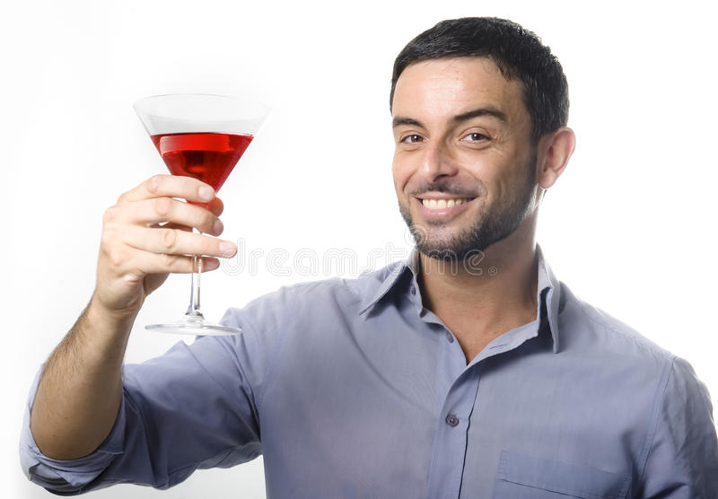 Young Man with Cocktail Isolated White royalty free stock photo