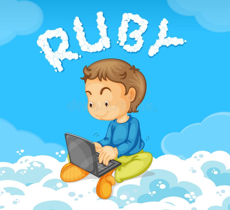 A young man coding ruby. Illustration vector illustration