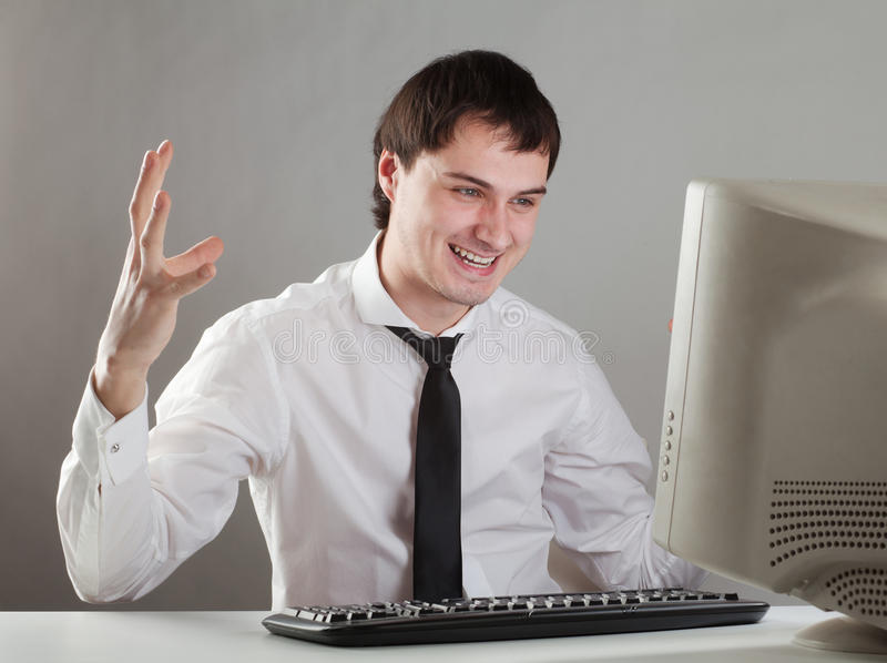 Download Young man at the computer stock image. Image of caucasian - 23205531
