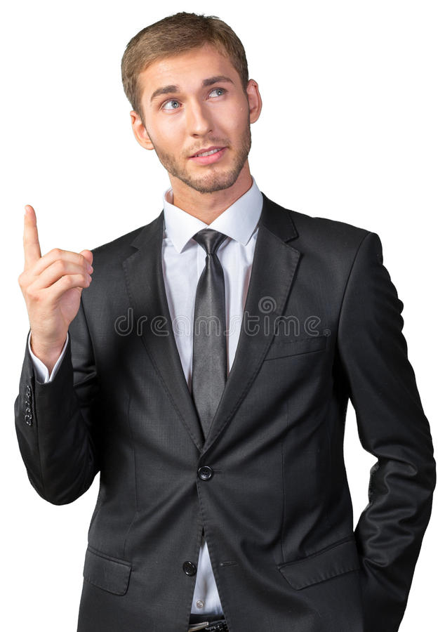 Young man concentrated thinking about something royalty free stock image