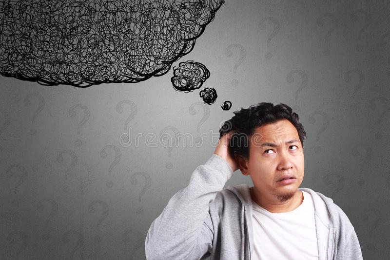 Young Man Confused, Stress Expression royalty free stock image