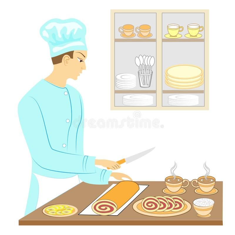 A young man cook prepares an exquisite sweet table. Baked a chocolate cake and cuts pieces, puts a cup of hot tea coffee . On the. Table sugar, lemon. Vector royalty free illustration