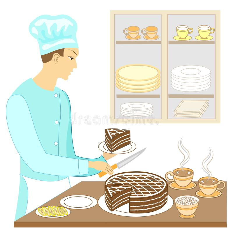 A young man cook prepares an exquisite sweet table. Baked a chocolate cake and cuts pieces, puts a cup of hot tea coffee . On the. Table sugar, lemon. Vector vector illustration