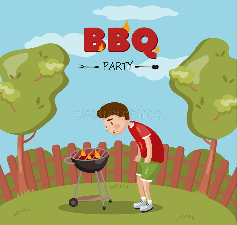 Young man cooking barbecue on the backyard, BBQ party cartoon vector Illustration with flaming grill. Colorful design element for poster or banner royalty free illustration
