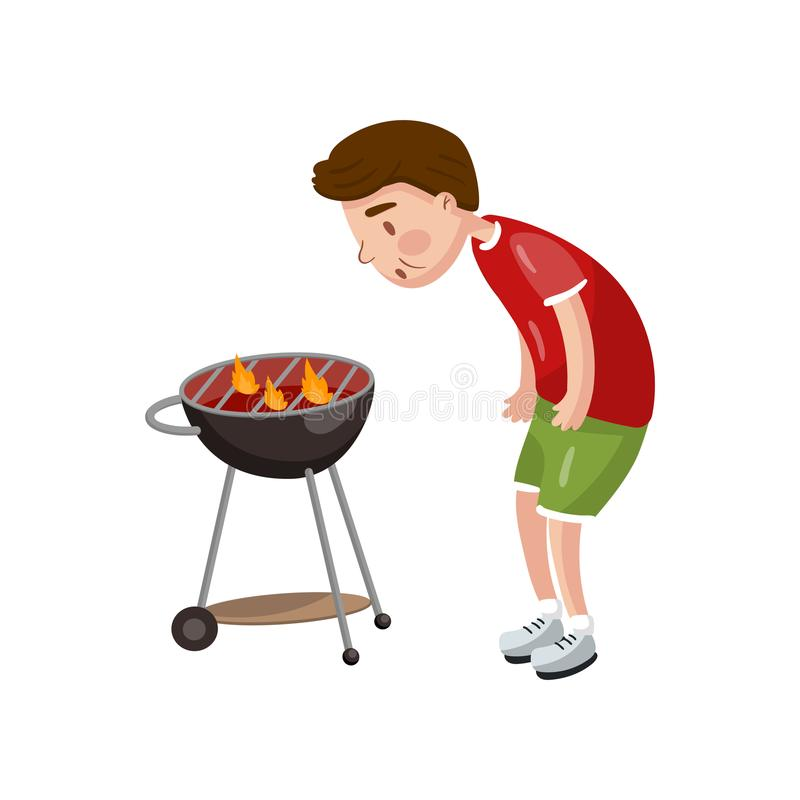 Young man cooking bbq for his friends cartoon vector Illustration. On a white background stock illustration