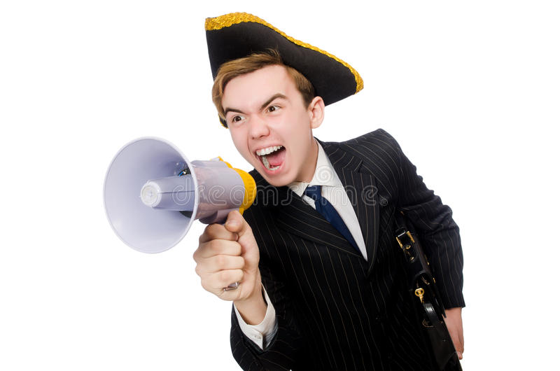 Young man in costume with pirate hat and megaphone stock photos