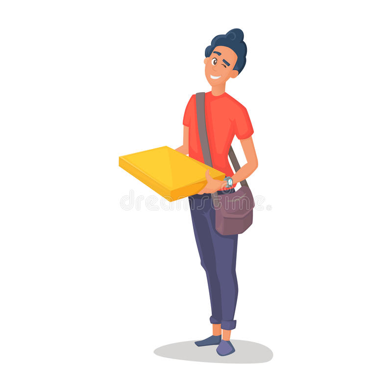 Young man courier delivery services of holding a large box and the plate with a shuttle sheet isolated on white. Background stock illustration