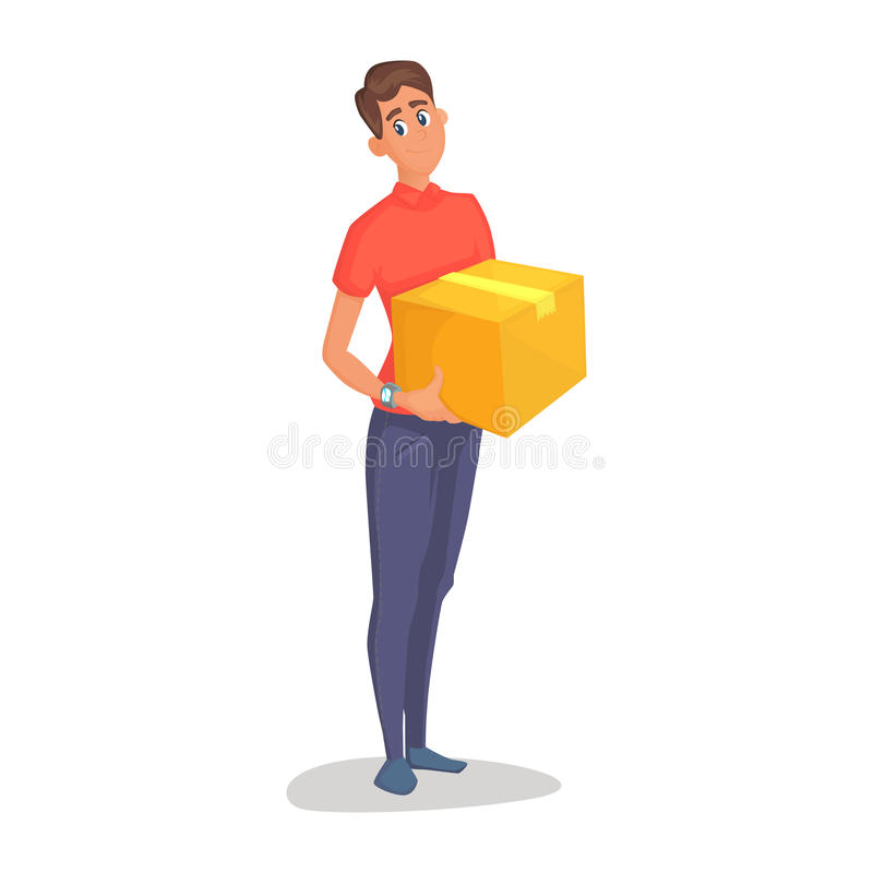 Young man courier delivery services of holding a large box and the plate with a shuttle sheet isolated on white stock illustration