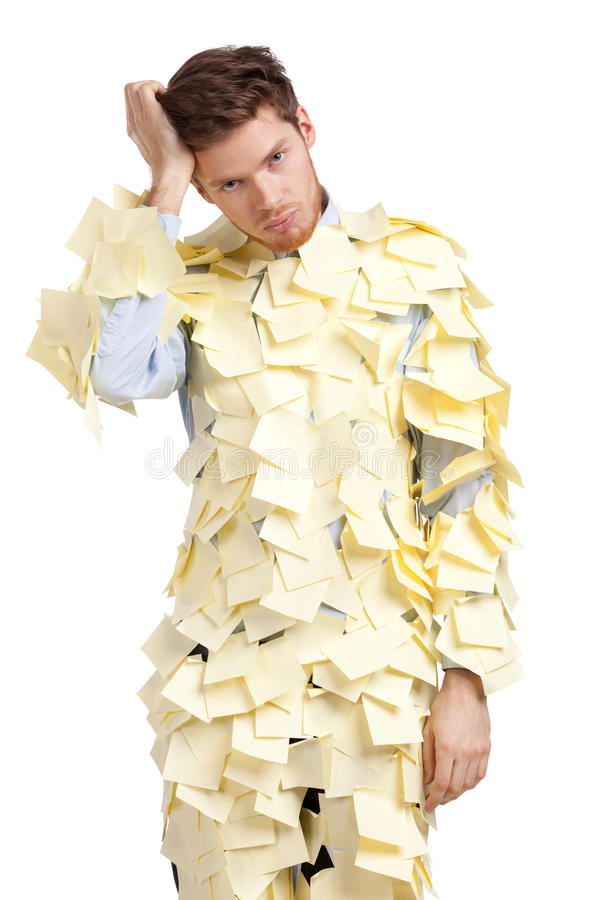 Download The Young Man Covered With Yellow Sticky Notes Stock Photo - Image: 26187988