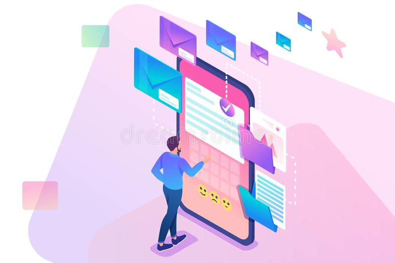 Young man creates New email message, send mail notification. New incoming message. Business correspondence. 3d isometric. stock illustration