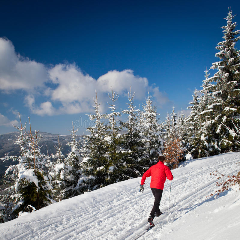 Download Young Man Cross-country Skiing Stock Image - Image of mountains, active: 51624377