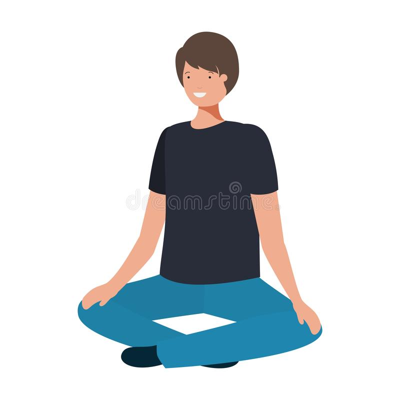 Young man with crossed feet avatar character vector illustration