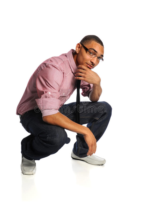 Download Young Man Crouching stock photo. Image of black, body - 23997814