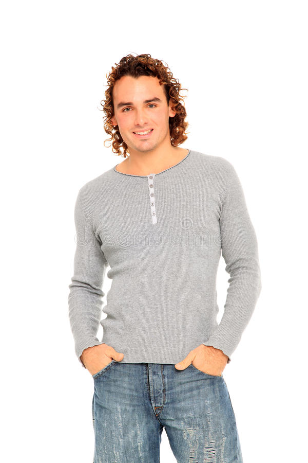 Download Young man with curly hair stock photo. Image of style - 22416260