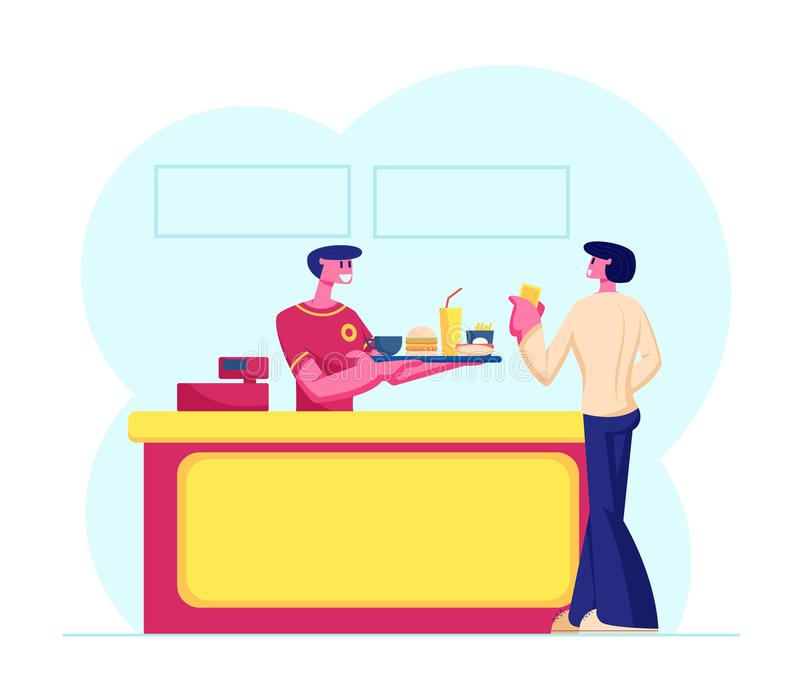 Young Man Customer Buying Fast Food Combo Set at Counter Desk with Friendly Salesman in Uniform Giving Tray vector illustration