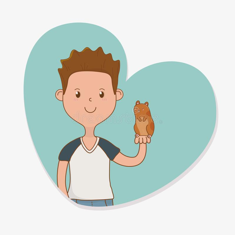 Young man with cute guinea pig mascot. Vector illustration design vector illustration