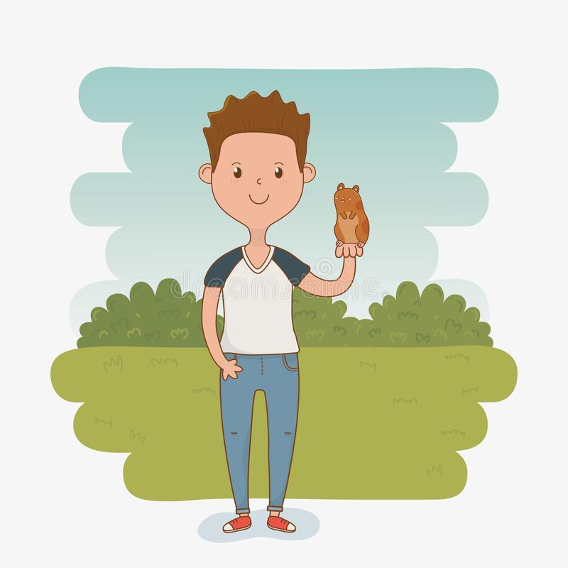 Young man with cute guinea pig mascot. Vector illustration design stock illustration